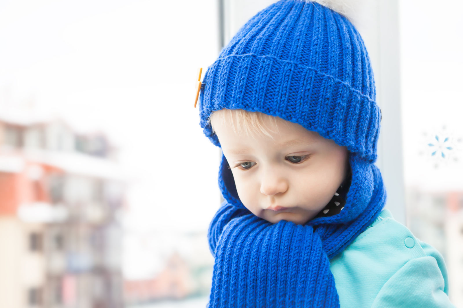 Young Child in Scarf and Hat