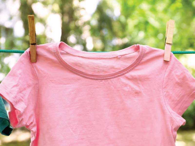 Pink shirt hanging on outdoor clothesline