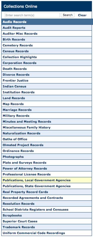 screenshot of Washington State Digital Archives